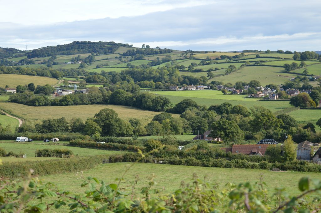 On Westover Farm, looking down to the Cottages and Campsite