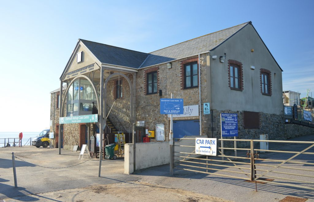 Charmouth Heritage Coast Centre.  Start here for details and information about the coast, tides and fossils.   An excellent childrens area. BEACH CAFÉ  Food, refreshments and LOOS Charmouth Beach Information