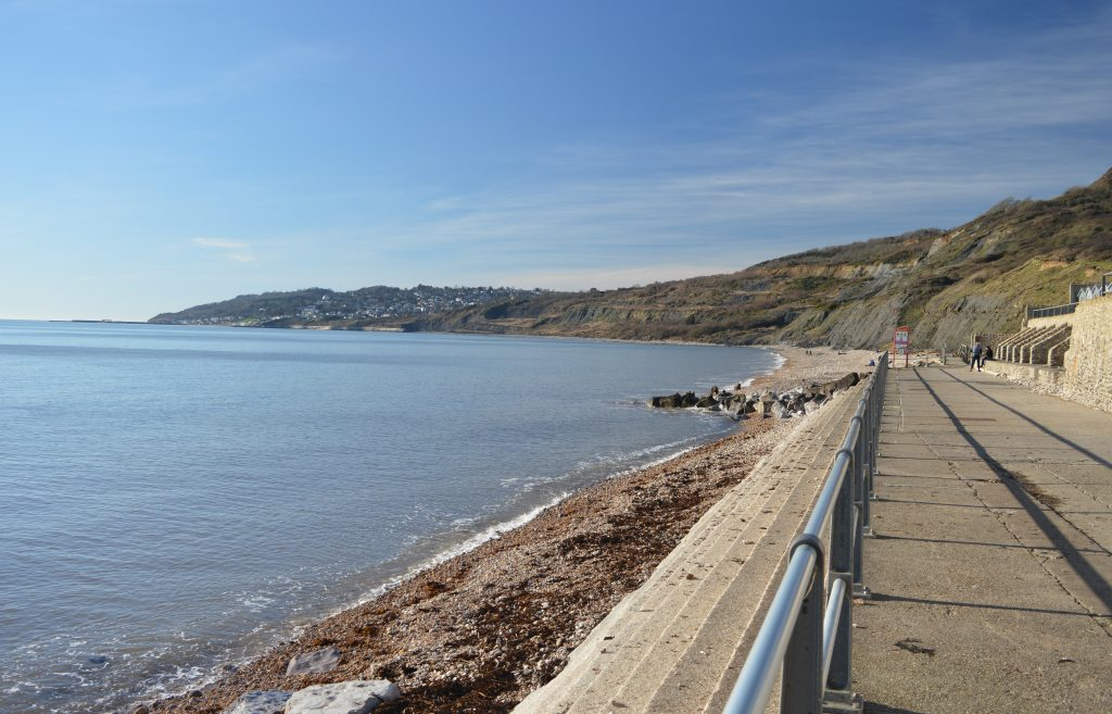 Looking West towards Lyme Regis.  When the tide is out, a wonderful 40 minute walk to Lyme Regis.  CHECK TIDE times The Jurassic Coast