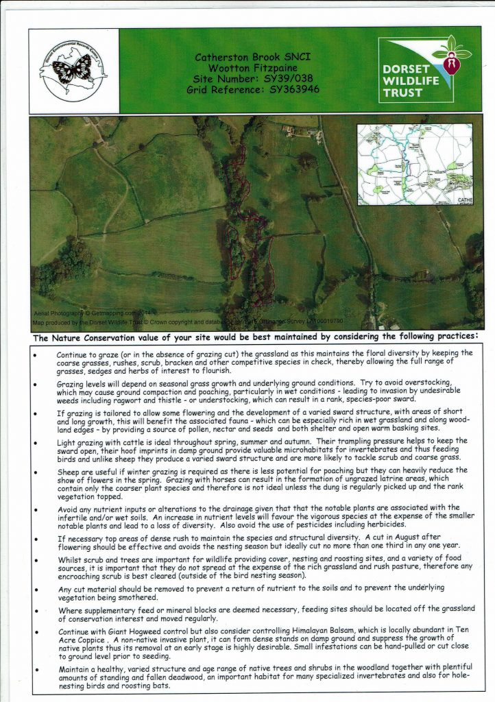 Site of Nature Conservation Interest at Westover Farm. Details of management.