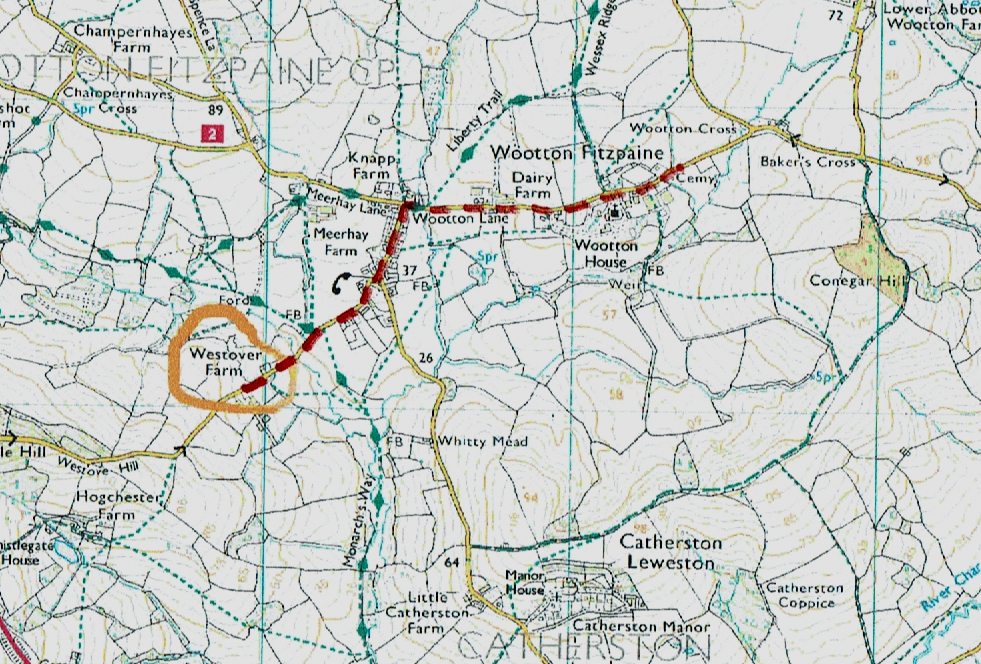 Map of route from Westover Farm to Wootton Fitzpaine village and the church