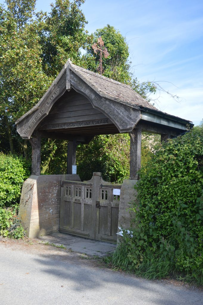 A little further, on the right, the Lych Gate to Wootton Fitzpaine village cemetery